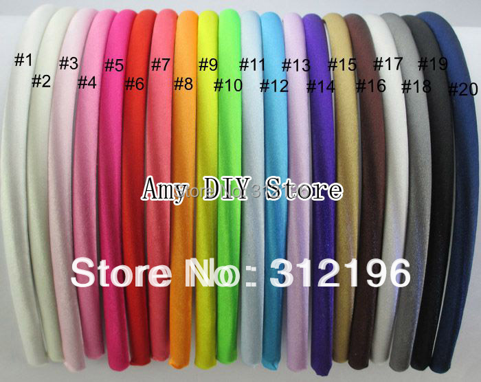Free Shipping 40pcs/lot 7 mm Colored Satin Covered Resin Hairbands Fashion Hair Band Baby Headband Accessories Plastic Headbands