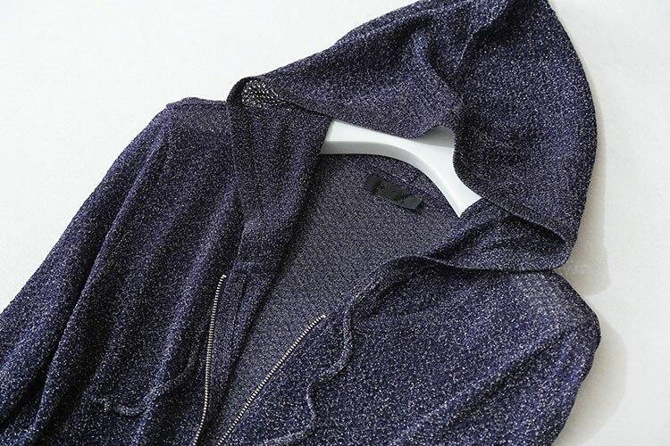 Специальные полушерстяные женские толстовки на молнии с капюшоном яркие нити тонкий вязаный весна лето осень M/L - 3
