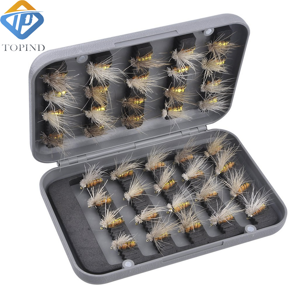 1set 40pcs Fishing Lure Trout Pan Fish Nip Fishing Flys Bait With Professional ABS Box TOPIND Fishing Tackle