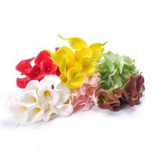 Фотография Sweet 10Pcs Artificial Latex Calla Lily Flower Bouquet Home Wedding Bridal Decor