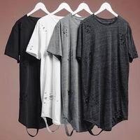 2017 summer streetwear classic plain hole scratches do old render joker plus long short sleeve TEE shirt Long T shirt size XXL
