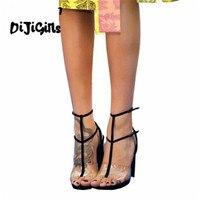 النساء روما t-حزام الصنادل البلاستيكية الشفافة الكعوب رقيقة عالية الكعب الصنادل السيدات مثير مجسمات خنجر