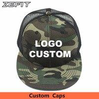 e845b161 Custom Camo Snapback Trucker Caps Free 3D Embroidery Printed Logo Black  Mesh Hat Flat Bill Adjustable