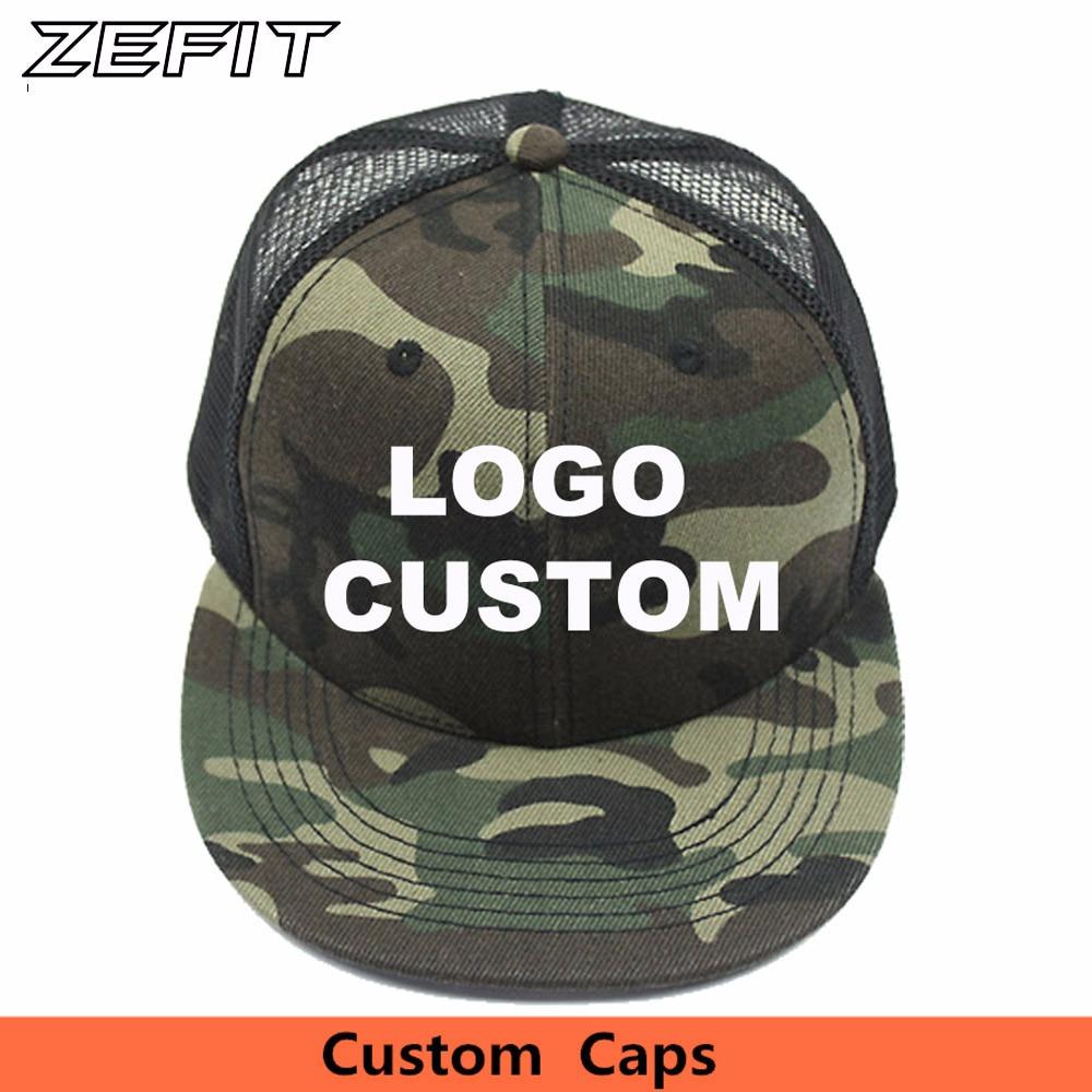 5944a9ae5975e Custom Camo Snapback Trucker Caps Free 3D Embroidery Printed Logo Black  Mesh Hat Flat Bill Adjustable Personalize Baseball Cap