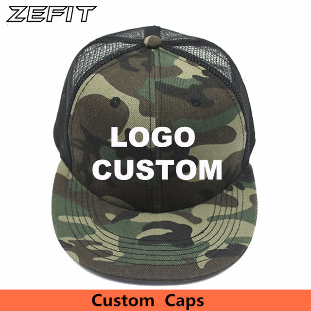 962143c8c1f Custom Camo Snapback Trucker Caps Free 3D Embroidery Printed Logo Black  Mesh Hat Flat Bill Adjustable Personalize Baseball Cap
