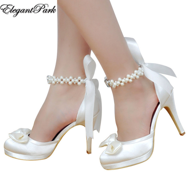 Woman High Heel Wedding Shoes White Ivory Round Toe Platform Pearls Ankle Strap Bow Satin Lady