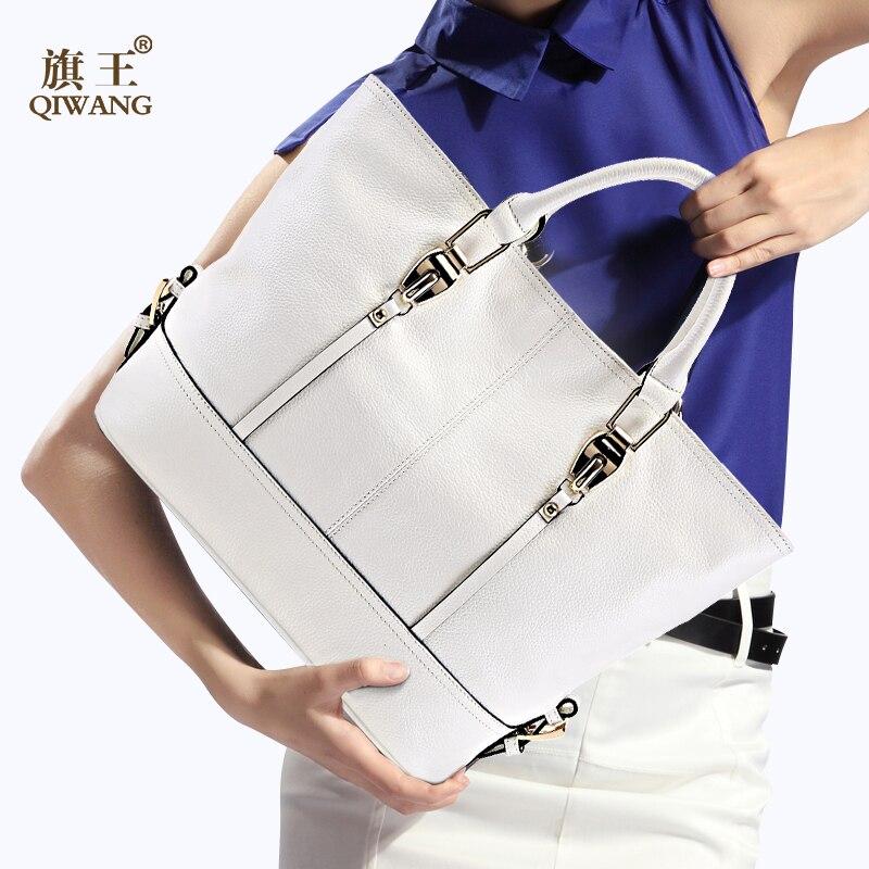 Qiwang luxe handtassen vrouwen tassen designer Lederen grote Capaciteit Tote Bag voor Dames Handtas bolsa feminina-in Top-Handle tassen van Bagage & Tassen op  Groep 1