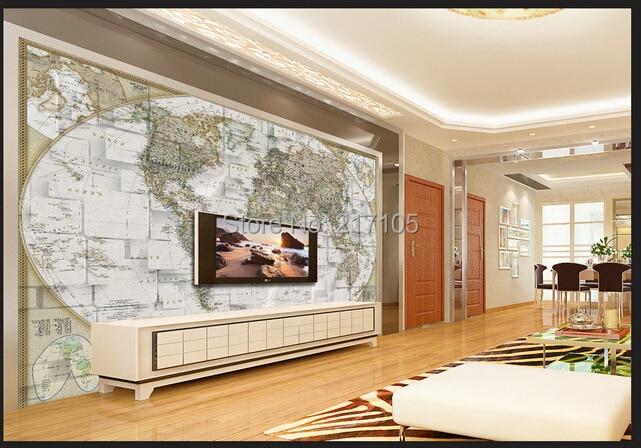 Buy Free shipping custom 3D stereoscopic world map mural sofa living room TV backdrop wallpaper office