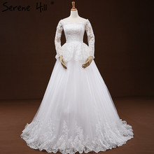 White Long Sleeves Princess Sexy Wedding Dresses 2017 Sequined Pleat Fashion Tulle Bridal Gowns Robe De Mariee