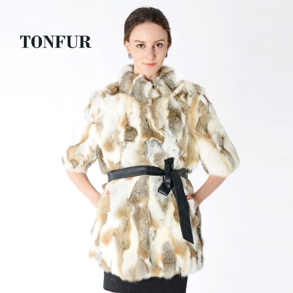 Nouveauté 100% manteau de fourrure de lapin Rex réel à manches courtes veste de fourrure naturelle usine en gros manteau de fourrure personnalisé NT301