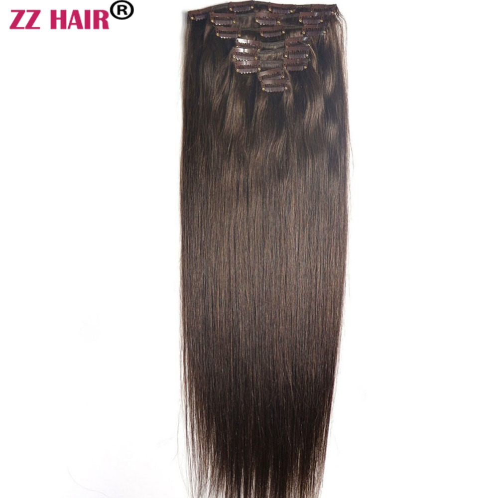 ZZHAIR 100%Human-Hair-Extensions Straight In 100g-160g 8pcs-Set-Clips Full-Head-Set 16--26-machine-Made