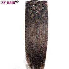 """ZZHAIR, 100 г-160 г, 1""""-26"""", волосы remy, 8 шт. в наборе, человеческие волосы для наращивания на всю голову, Натуральные Прямые Волосы"""