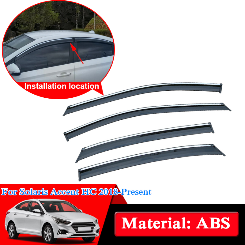 Car Styling External Awnings Shelters Window Visors Sun Rain Shield Stickers Covers Accessories For Hyundai Solaris Accent 2018