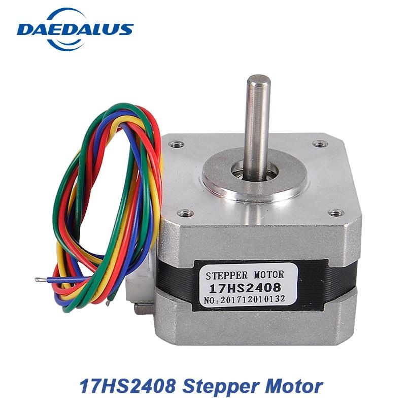 цены 1PCS 17HS2408 4-lead Nema 17 Stepper Motor 2 Phase Hybrid 42 motor 42BYGH 0.6A CNC Laser 3D Printer Motor With Cable Wire