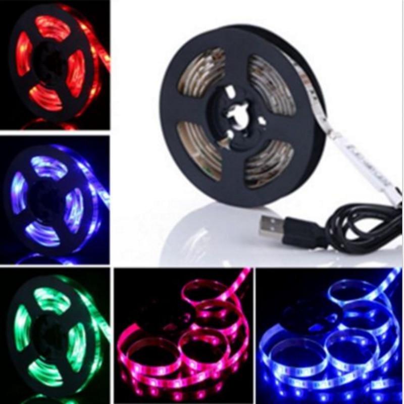 50cm 100cm 150cm 200cm 5V USB LED Strip 5050 RGB LED Tape TV Background Lighting DIY Decorative Lamp Powered by Powerbank