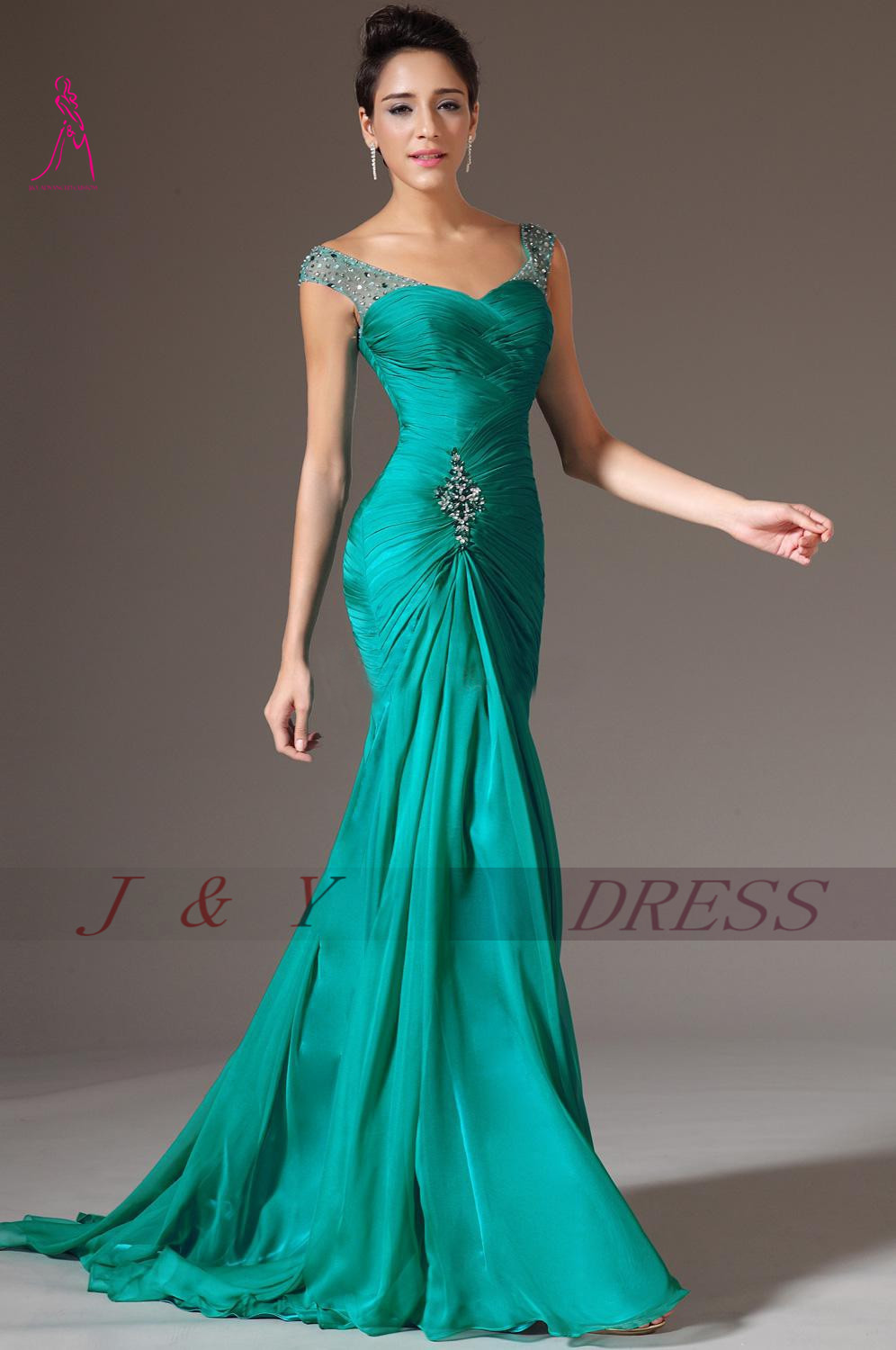 JY Best Selling Mermaid Long Green Evening Dress Chiffon Pleat ...