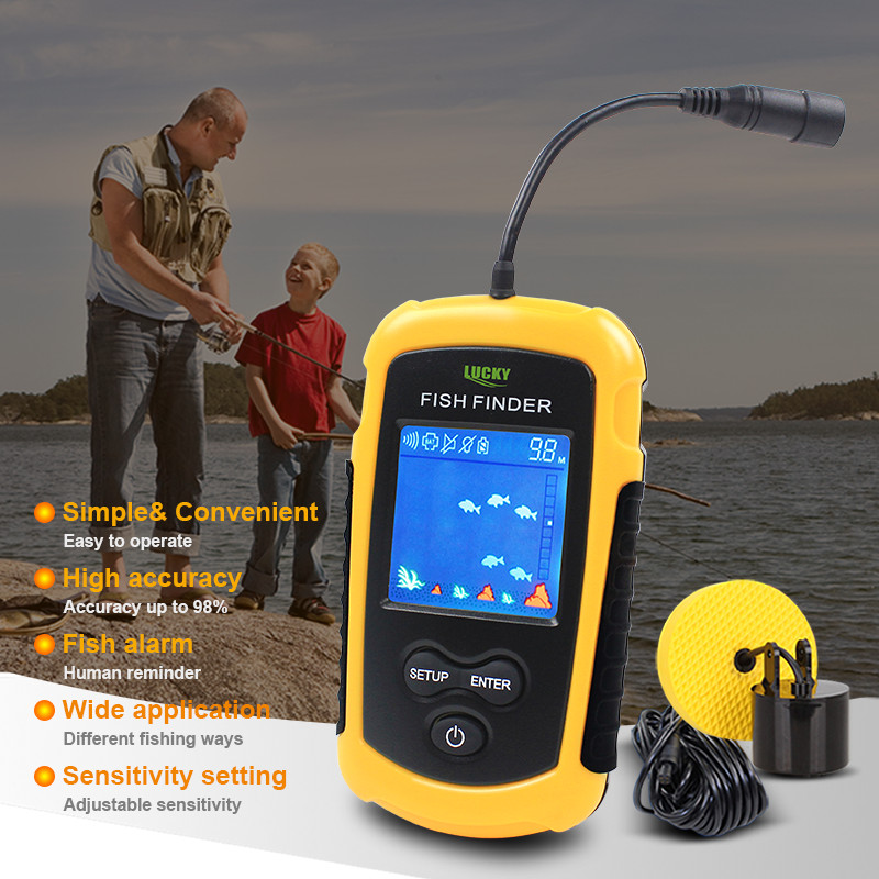 Free Shipping! FFC1108-1 Hot Sale Alarm 100M Portable Sonar LCD Fish Finders Fishing lure Echo Sounder Fishing Finder