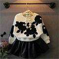 Girls Skirt Suit Stereoscopic Flower Bat Sleeve Sweater + Leather and plaid Skirt 2 Piece Clothing Set for Girl CLS047