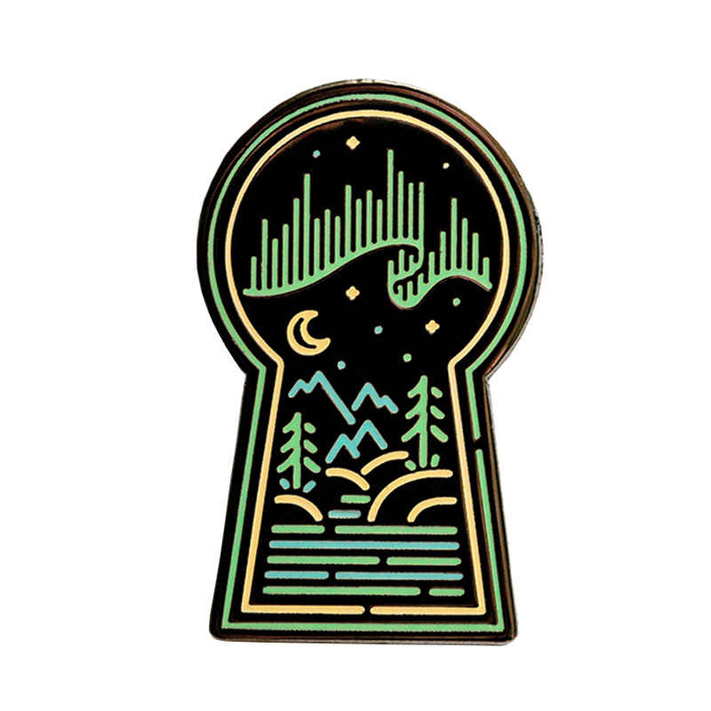 Aurora Borealis Noorderlicht Galaxy Space Nebula Emaille Pin Badge