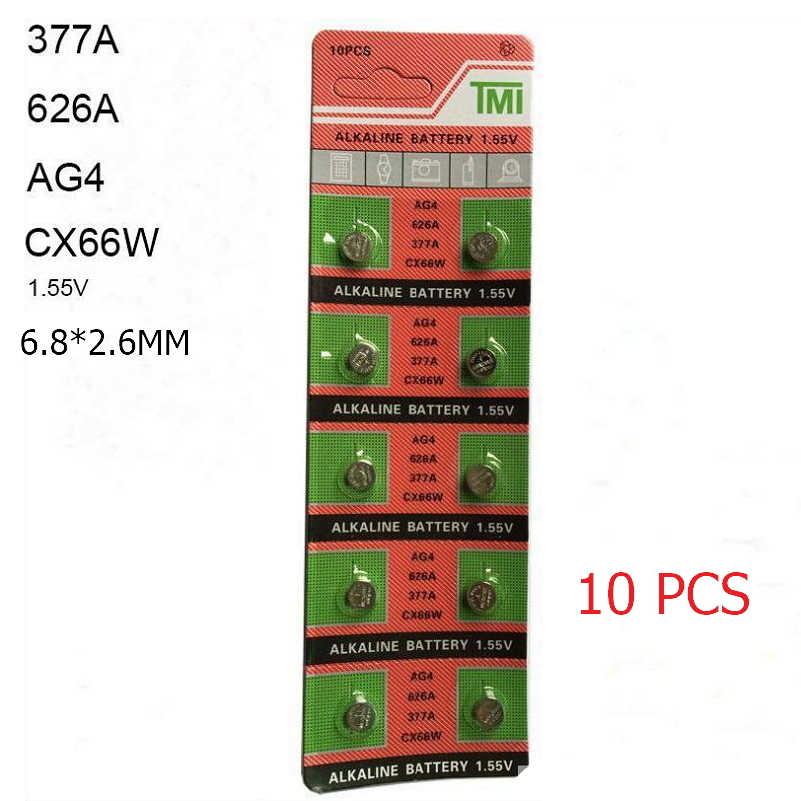 10 PCS 377 Battery AG4 LR626 626 1.55V sr626sw CX66 Watch Button Cell Battery For Watch  Toys Remote Coin Battery