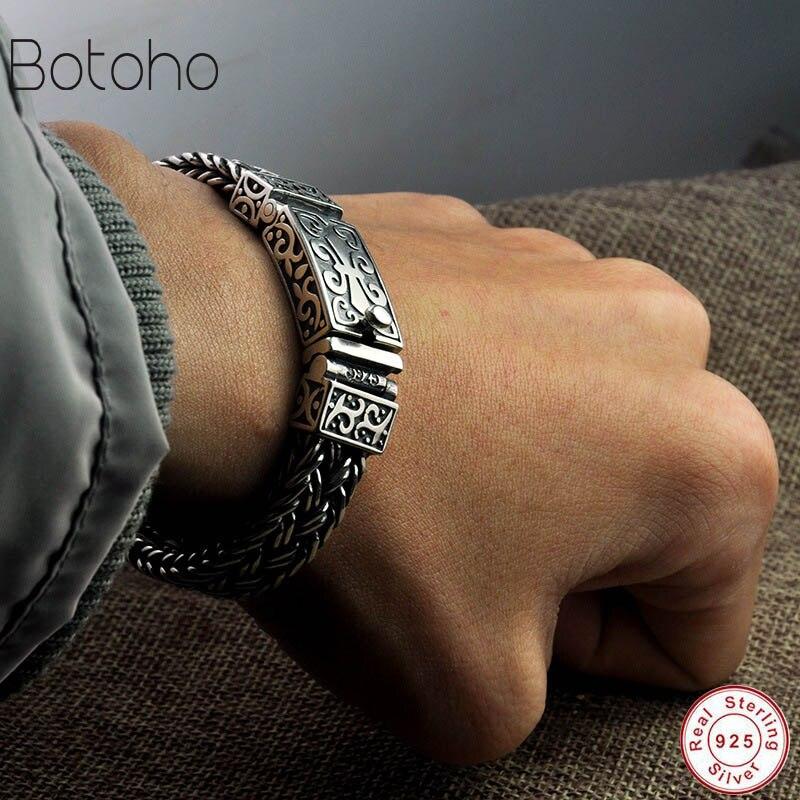 Real 925 prata esterlina pulseira masculina e feminina de largura 11mm retro punk rock fio corrente e pulseira thai prata jóias