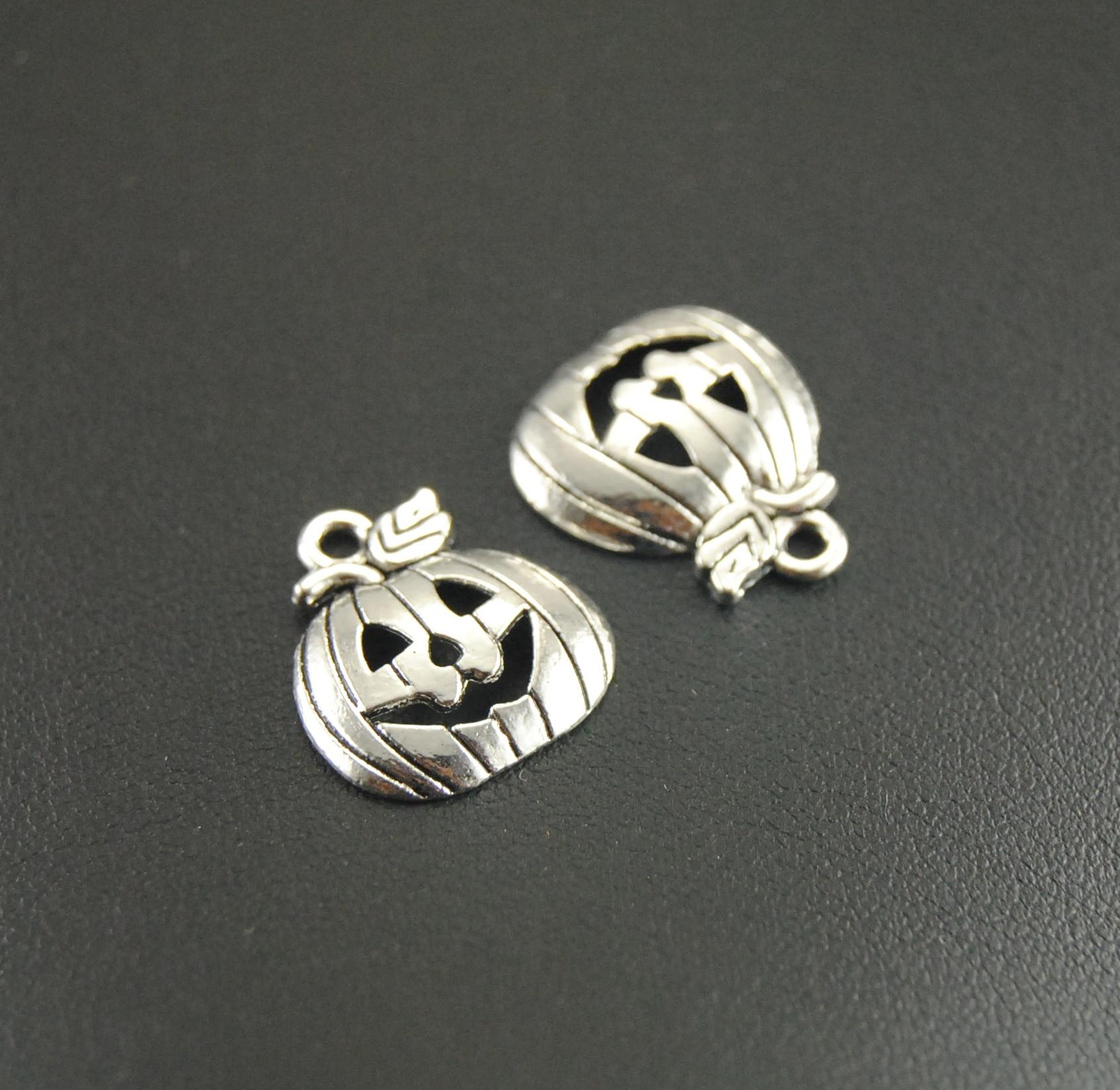 10 Pcs Metal Alloy Halloween Antique Silver Pumpkin Charms Pendants Smile Pumpkin Charm Accessories 19x16mm A277