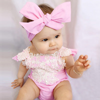 Fashion Two Pieces Baby Girl Summer Infant Bodysuit Romper Headband Summer Baby Girl Clothing New Born