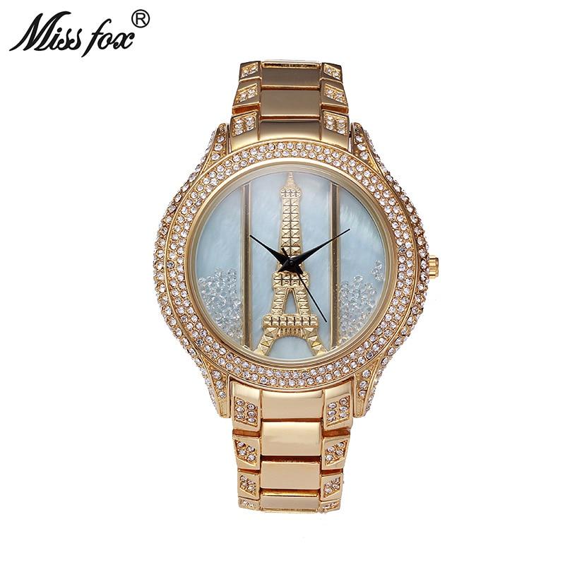 Montres femme Miss Fox tour Eiffel 2017 marque de luxe en or grande montre de luxe pour femme avec strass Relogio Feminino Dourado