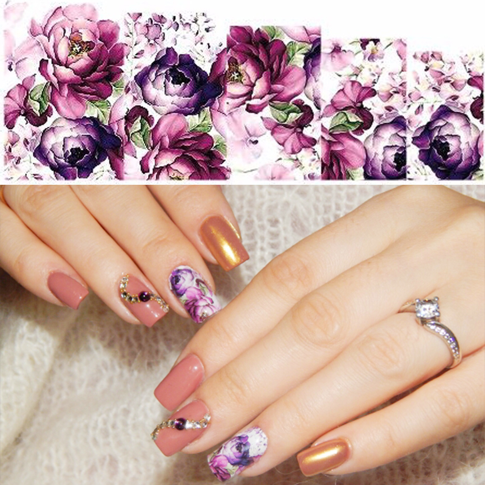 Nail Salon 1PC Water Transfer Nails Art Sticker Purple Flowers Nail Wraps Sticker Watermark Fingernails Decals SASTZ369 ds300 2016 new water transfer stickers for nails beauty harajuku blue totem decoration nail wraps sticker fingernails decals
