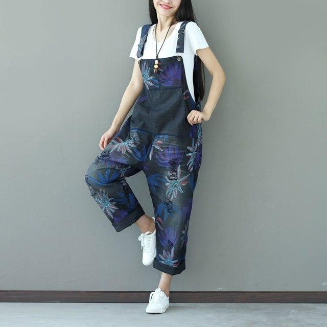 dbde3ee5101 Plus Size Bib Overalls 2018 Women Wide Leg jean Jumpsuit Fashion Casual  Harem Suspender Pants Floral Print Denim Rompers YT005