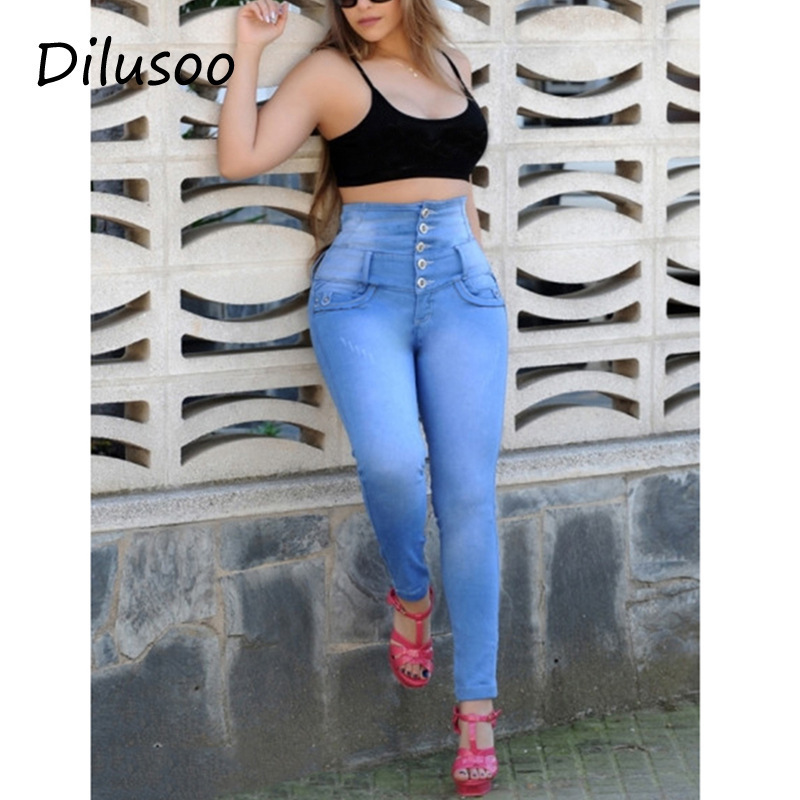 Dilusoo Women High Waist   Jeans   Pants Buttons Elastic Pencil Pants 4 Season Denim   Jeans   Woman Casual Office Lady Skinny Trousers