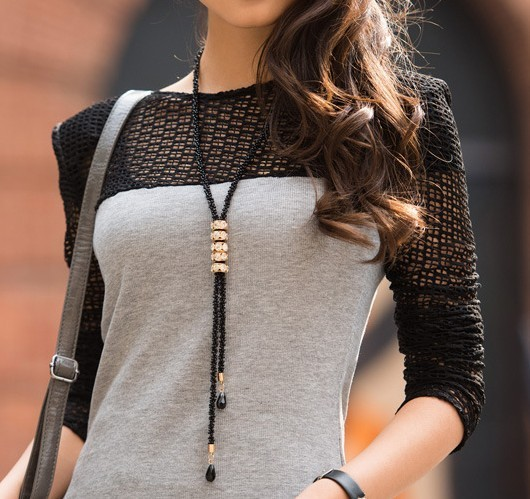 New fashion crystal tassel long necklace black beads chain ns