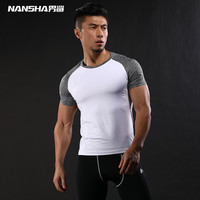 NANSHA Quick Dry Slim Fit Tees Men Patchwork T Shirts Compression Shirt Tops Bodybuilding Fitness O