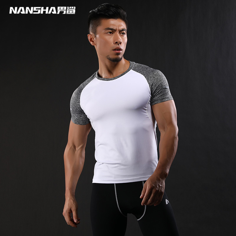 NANSHA Quick Dry Slim Fit T-shirt Patchwork T-Shirt Camicia di Compressione Tops Bodybuilding Fitness O-Neck T Shirt A Manica Corta
