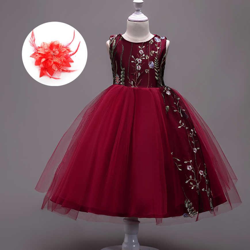 8b4c61dd9 Apliques florales niños vestidos niños baile Vestido de fiesta para niñas  Vestido niña niñas niños Borgoña