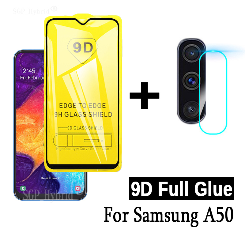 9D Full Glue Tempered Glass For Samsung A50 Camera Screen Protector Lens Samsun Samsung A50 A 50 SM A505F Protective Glass Film image