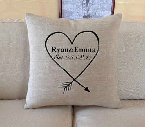 Personalised Wedding Gift Custom Name Date Cushion Cover Heart Arrow Throw Pillow Case Linen Personalized Anniversary