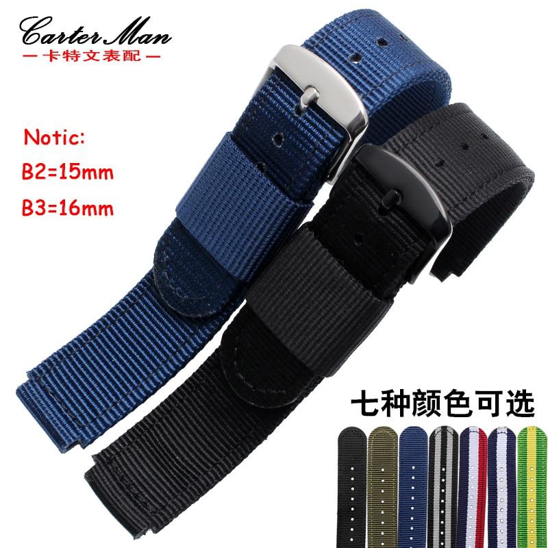 Nylon Watch Bands Huawei B2 B3 Smart Watch Bracelet Watchband Nylon Strap Black Brown 15mm 16mm