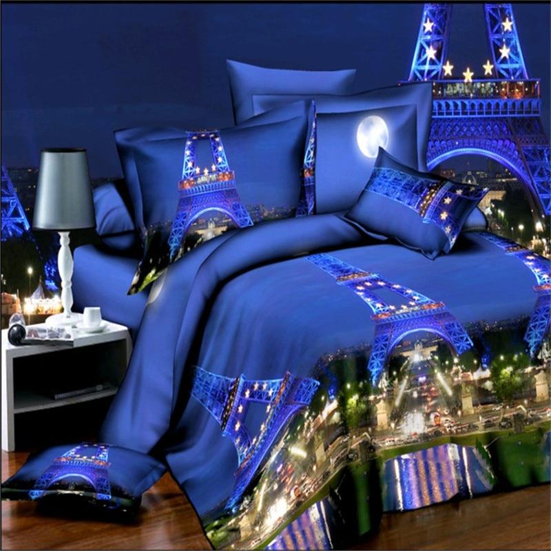 High quality 3D Print Paris La Tour Eiffel Bedding Sets 100% polyester Blue Sky Eiffel Tower Duvet Cover bedsheet Set Queen Size|bedding set|bedsheet set|queen size - title=