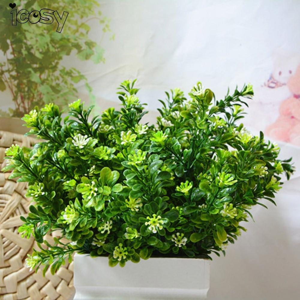1Pcs Simulation 7Forks Milan Grass Artificial Green Plants Flower For Home Outdoor Garden Wedding Decoration Drop Shipping
