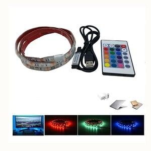 USB светодиодный экран компьютера или ТВ ПОДСВЕТКА с пультом дистанционного управления 5 в водонепроницаемый RGB SMD5050 светодиодные ленты осве...