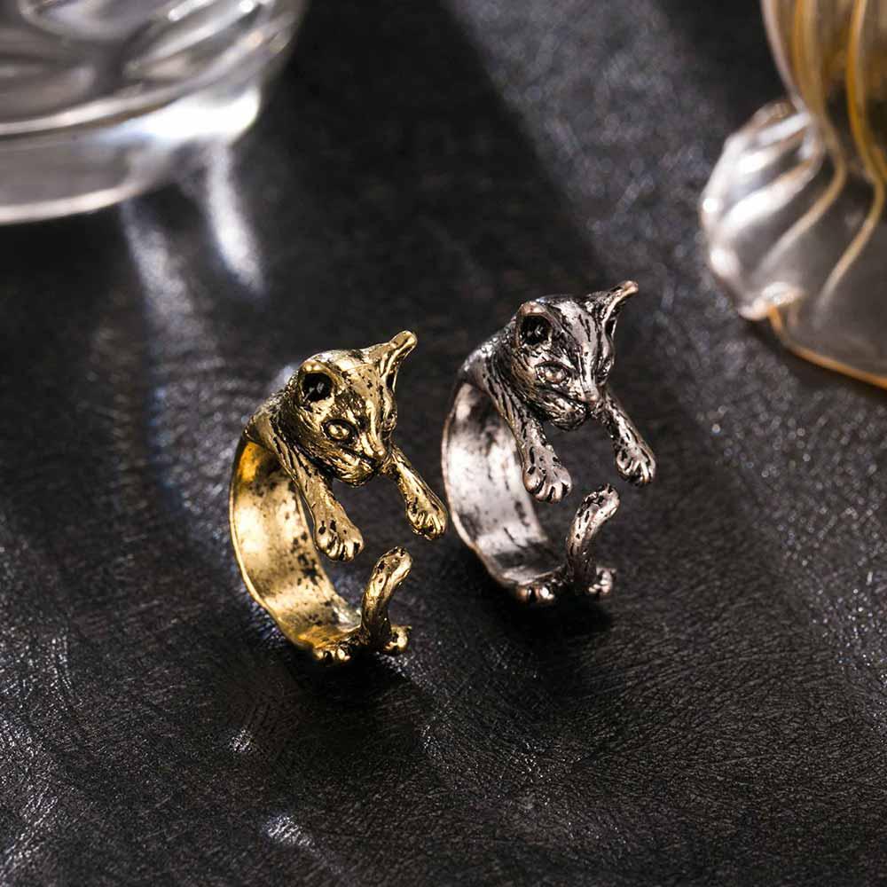 Retro animal hand cute cat ring fashion antiques