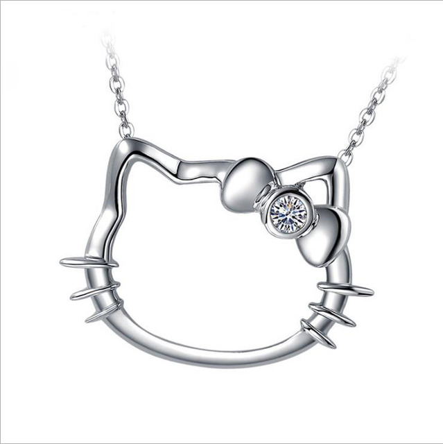 df6a40f17 Fashion Hello Kitty 925 Silver Pendants charm Necklaces Chain ELEMENTS  Crystal Cute Cat Clavicle necklace Jewelry For Women