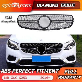 Diamante Griglia misura per GLC W253 X253 paraurti anteriore GLC43 GLC200 GLC250 GLC300 GLC450 Nero o Argento grille senza centro logo