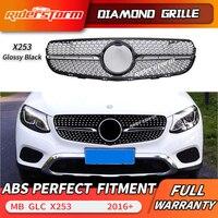 Diamond Grille fit for GLC W253 X253 front bumper GLC43 GLC200 GLC250 GLC300 GLC450 Black or Silver grille without center logo
