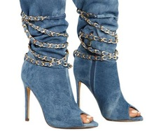 Fashion Women Mid-Calf Boots in Sexy Peep toe with Denim Blue Pattern New Spring Shoes Chains Across High Heels