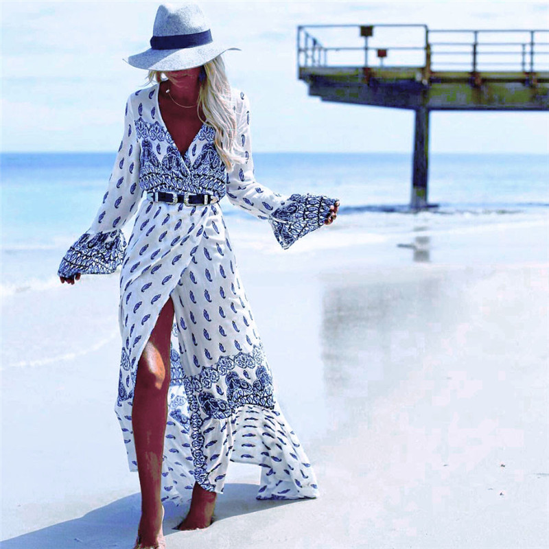 Women Summer Long Sleeve Cardigan Sexy Maxi Long Dress Autumn Long Sleeves Tunic Floral Beach Long Maxi Dress Sundress