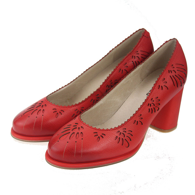 2017 Genuine Leather Women Pumps Shoes High Heels Sheepskin Vintage Handmade Women Shoes Yellow Red