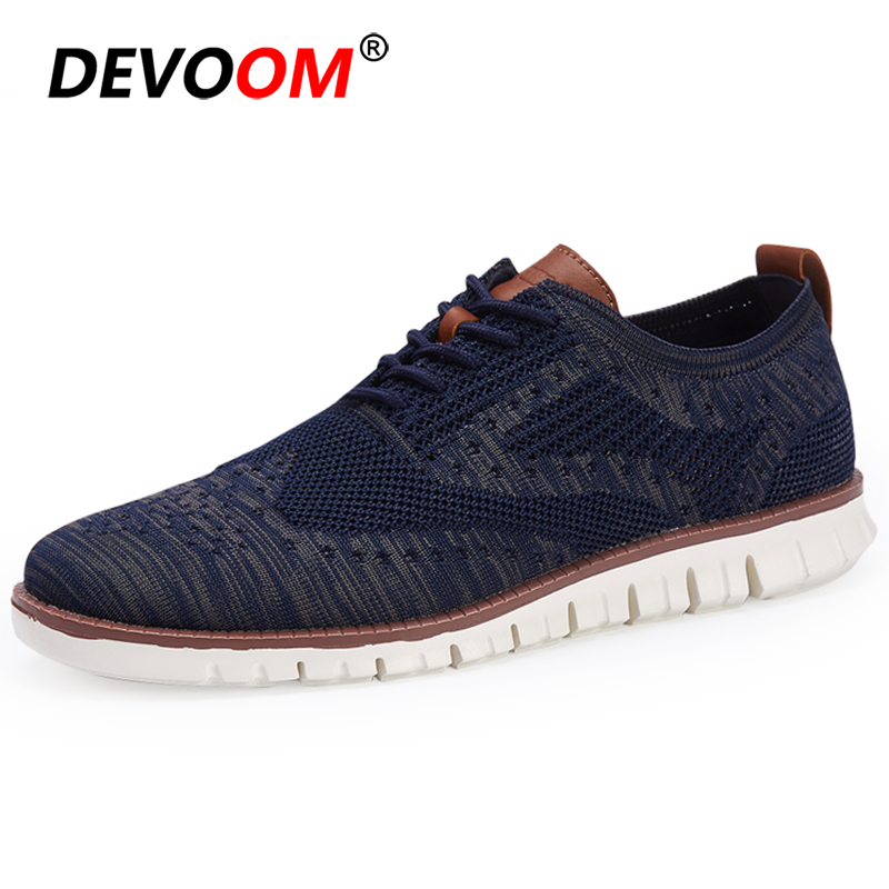 Brogue Casual Shoes Men 2019 Breathable Men Summer Shoes Fly Knit Mens Sneakers Casual Shoes Fashion Lace-up Footwear Size 39-46