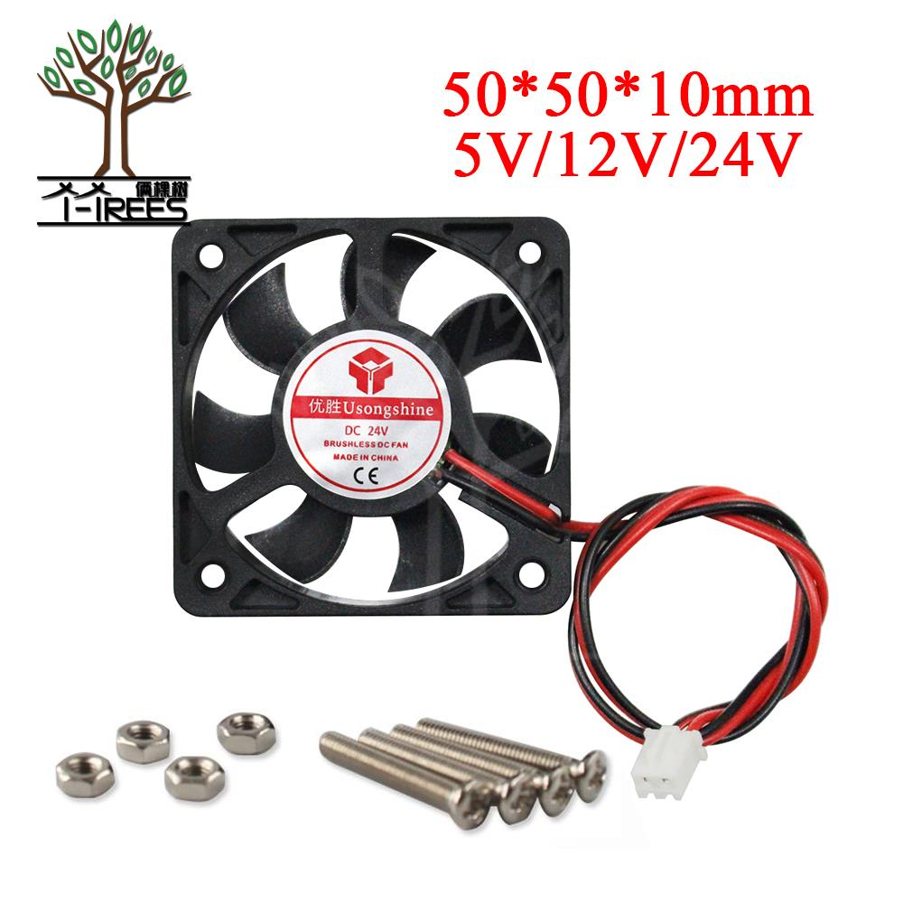 1PCS 3D printer part parts DC 5010 50*50*10 5V 12V 24V 2Pin 50mm 5cm Industrial Cooling Fan 50mmx50mmx10mm new and original kde1205pfv3 12v 0 8w 5010 5cm ultra quiet cooling fan for sunon 50 50 10mm